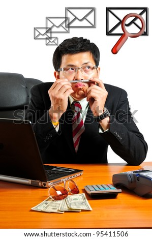 businessman with find and check E-Mail