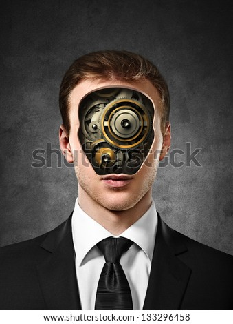 businessman with gears inside head on concrete background