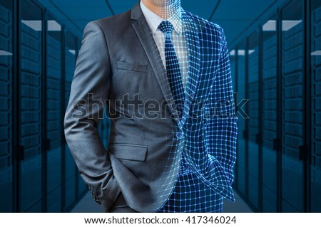 businessman with half wire frame in server room #417346024