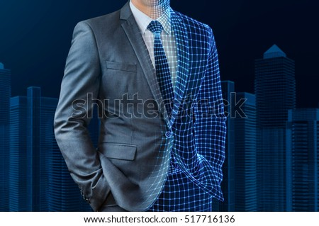 businessman with half wire frame skin standing in front of wire frame building #517716136