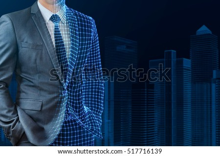 businessman with half wire frame skin standing in front of wire frame building #517716139