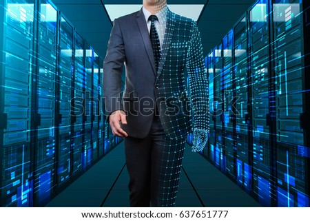 businessman with half wire frame walking through server room #637651777