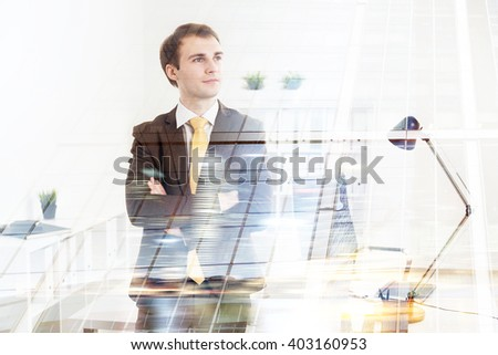 Businessman with hands crossed, office at background. Double exposure. Concept of work. #403160953