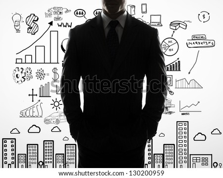 businessman with hands in pocket and drawing business concept - stock photo