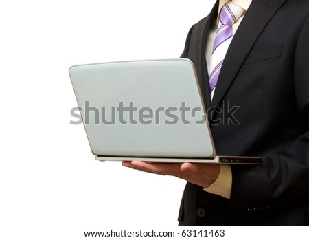 businessman with hands laptop