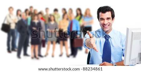 Businessman with handshake and group of business people. Business team. Isolated over white background.