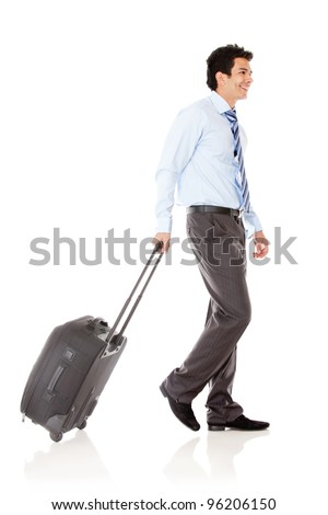Businessman with his bag going on a trip  - isolated over a white background