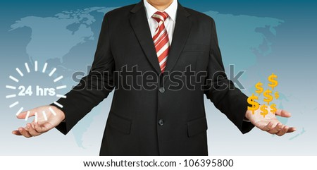 Businessman with 24 hour circle balance with US dollar
