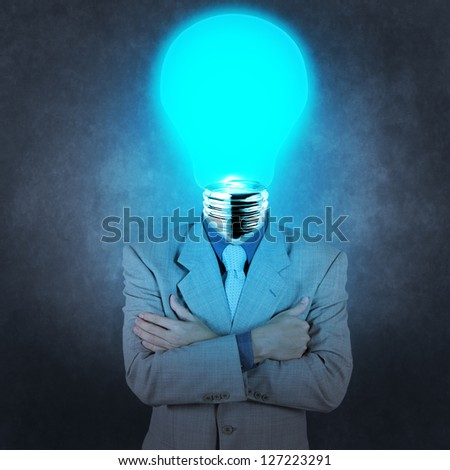 businessman with lamp-head as concept