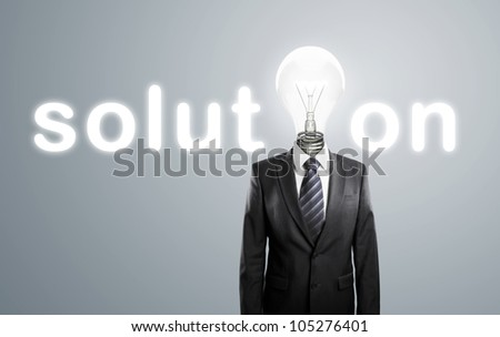 businessman with lamp-head, concept solution