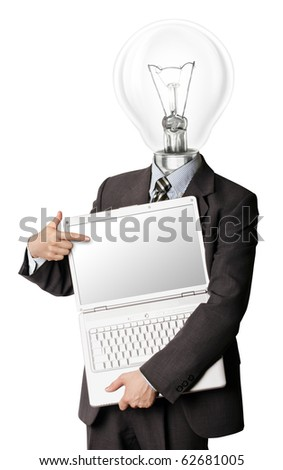 businessman with lamp-head with open laptop shows something with his finger - stock photo