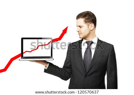 businessman with laptop and red arrow