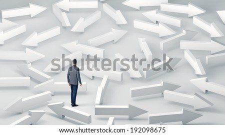 Businessman with lots of choices