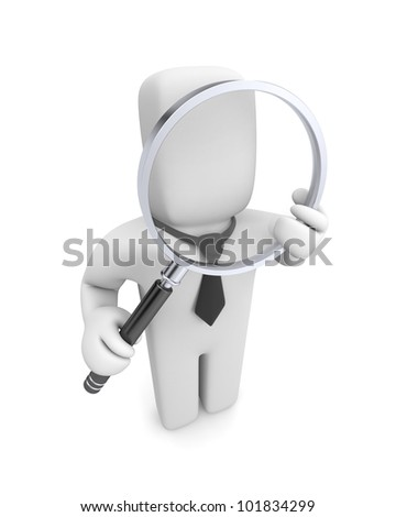 Businessman with magnifying glass. Image contain the clipping path