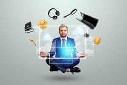 Businessman with many hands in a suit. Works simultaneously with several subjects, business virtual diagram with artificial intelligence. Multitasking, efficient business worker concept