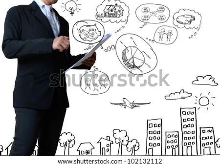 businessman with marker writing something isolated on white background