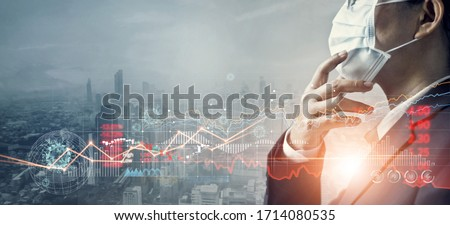 Businessman with mask, Analysis coronavirus impact on global economy and stock markets, Effects of outbreak and pandemic covid-19, Economy crisis, Stocks fall and financial crisis.