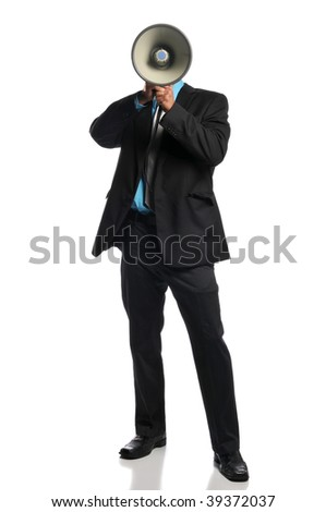 Businessman with megaphone standing and isolated on a white background