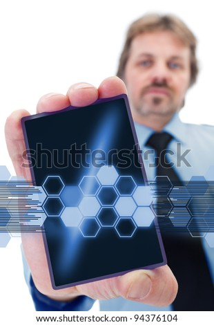 Businessman with modern gadget - giving shape to a data stream