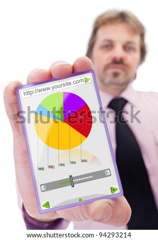Businessman with modern smart glass panel like gadget