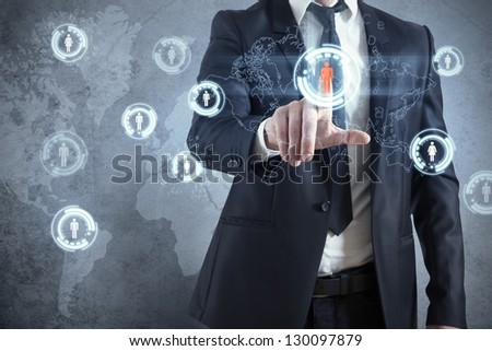 Businessman with modern social network virtual interface