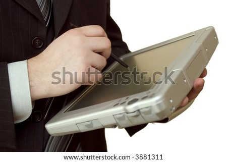 businessman with modern tablet-pc in hands, horizontal photo, isolated on white background. Focus on hand.