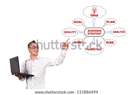 businessman with notebook points to business strategy