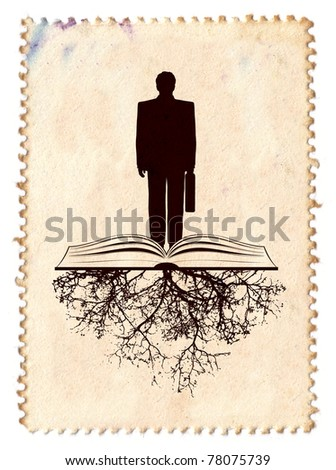 businessman with open book and stamp background