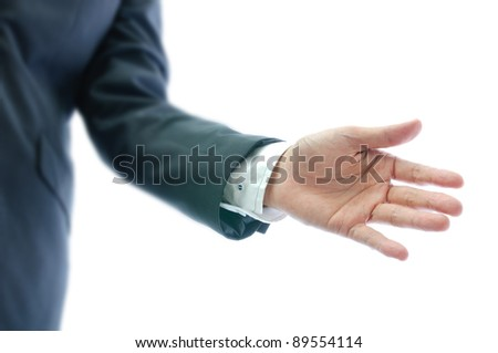 businessman with open hand isolated on white background