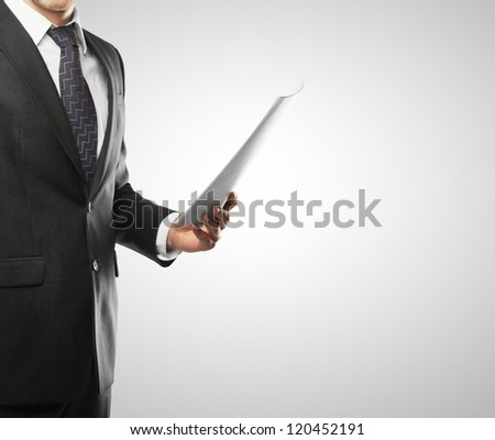 businessman with paper hand on a white background