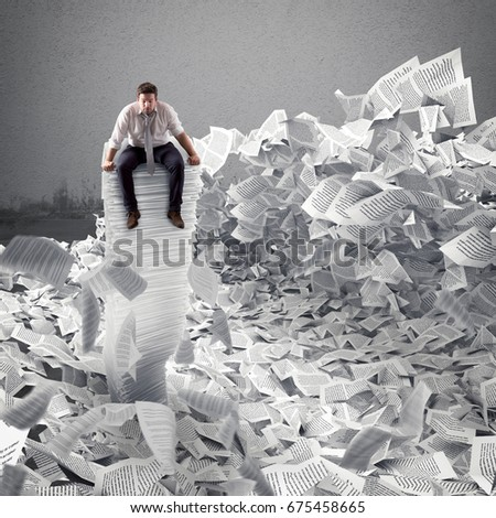 Businessman with paper sheet anywhere. Buried by bureaucracy concept.