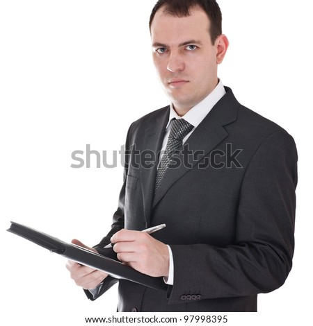 businessman with pen and notepad
