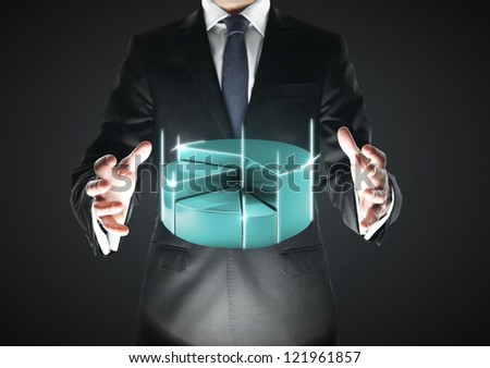 businessman with procent pie on a black background