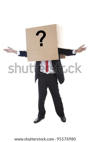 Businessman with question mark sign on the box