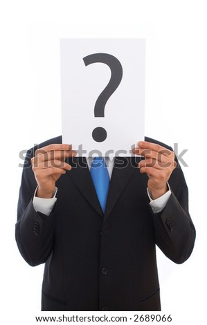 Businessman with question mark sign on white background stock photo