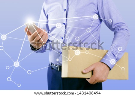 Businessman with smart phone and logistic network. Logistic network distribution, Logistic and transport concept.