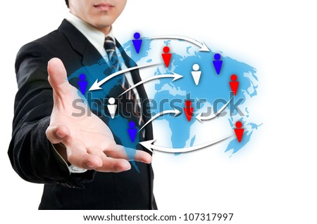 Businessman with social network