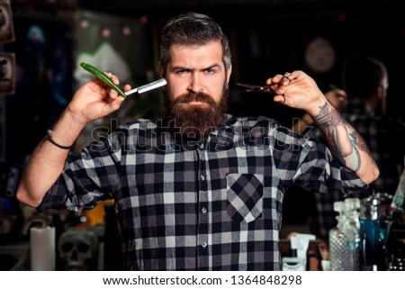 Businessman with strict face on dark background. Man in barbershop. Male in barbershop.