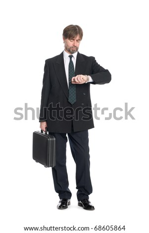 Businessman with suitcase looking at your watch.
