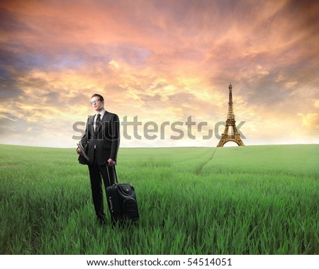 Businessman with suitcase standing on a green meadow with Eiffel Tower on the background - stock photo