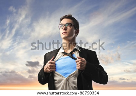Businessman with superhero suit under his skirt