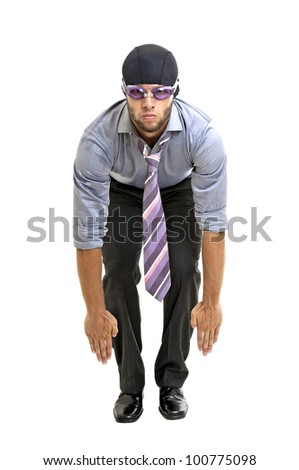 Businessman with swimming gear isolated in white