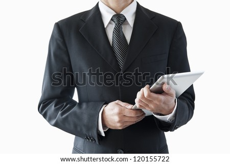 Businessman with tablet computer
