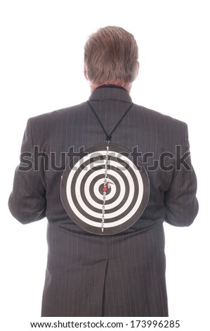Businessman with target on his back
