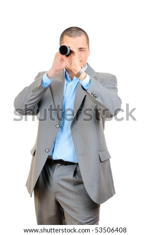 Businessman with telescope looking forward isolated on white background