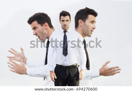 Businessman with the emotions mad,normal and calm. Emotion controlling concept. Stock Photo