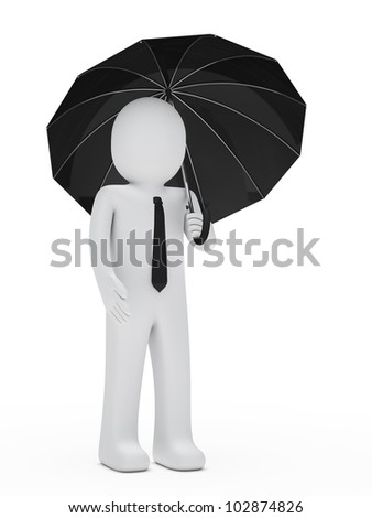 businessman with tie hold a black umbrella