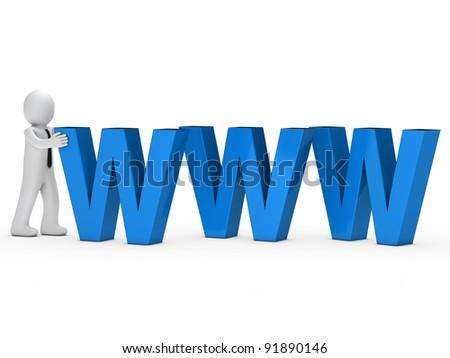 businessman with tie push blue www text
