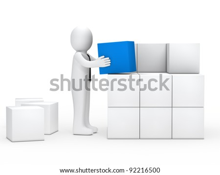 businessman with tie stack blue cube box