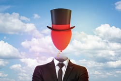 Businessman with top hat and red balloon instead of head on blue sky and white clouds background. Management and society. Digital art. People and objects.